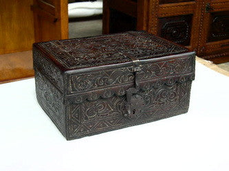 #ART-008 Tooled leather Spanish colonial document box