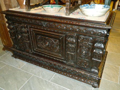 Antique carved Renaissance credenza, chestnut