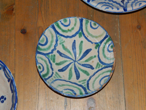 "Antique blue & white painted Fajalauza majolica ""flower"" bowl"