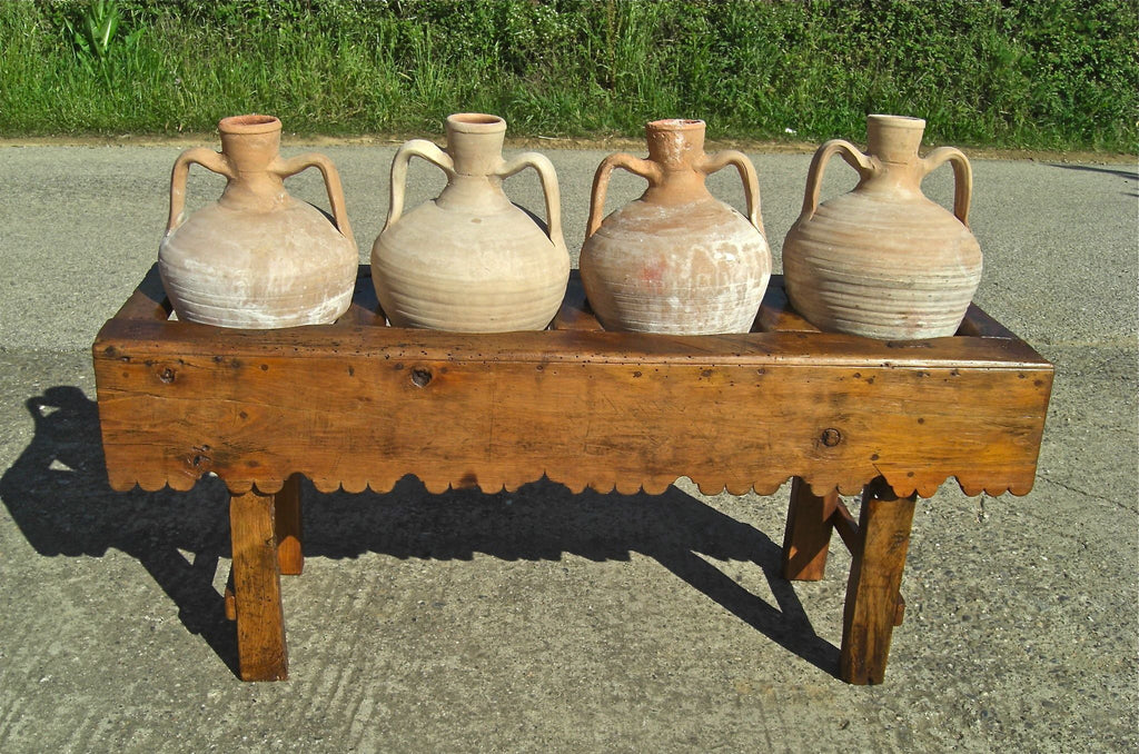 Antique scalloped skirt four-hole pine water jug stand with original clay  jugs