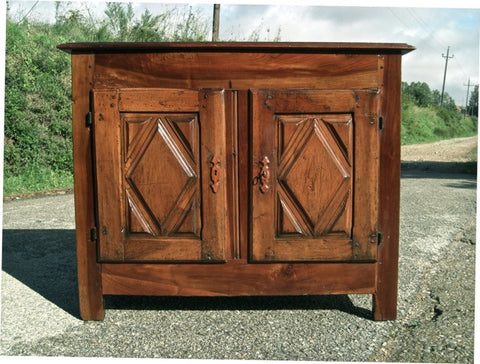 Antique two-door diamond panel credenza, walnut