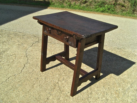 Antique mixed wood trestle leg game dressing table, walnut & oak