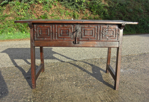 Antique carved single-drawer trestle-leg game dressing table, walnut