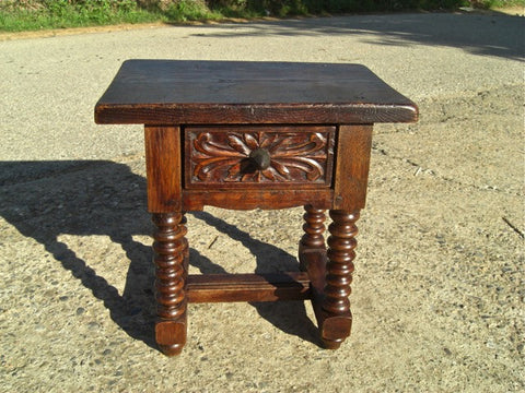 Carved octagonal brazier pan table, walnut and oak