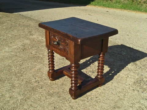 Antique lentil-leg accent table with carved drawer, chestnut