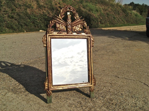 Antique pair of inlaid tabletop mirrors with original glass