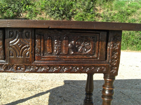 Antique carved turned-leg two-drawer writing table, walnut and chestnut