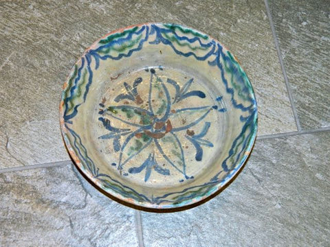 "#5683, Small glazed ""Fajalauza"" majolica basin"