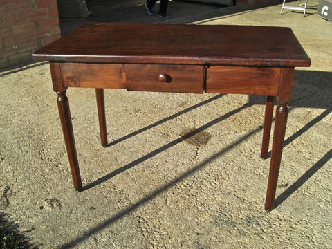 #5725, Scalloped lyre-leg writing table with iron stretchers, walnut