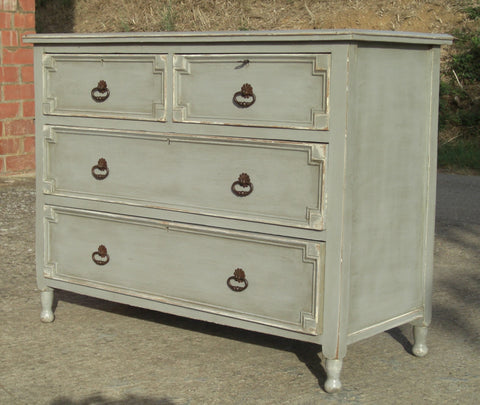 Antique four-drawer chest of drawers, oak