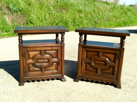 Antique carved single-door accent tables, walnut