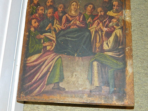 Antique painted wooden panel of Mary and the Apostles, walnut
