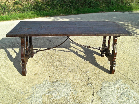 Antique tapered leg farm house table with drawer, oak