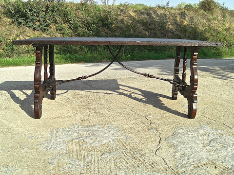 "#5727, Lyre-leg library table with ""Neptune's fork"" iron stretchers, chestnut & walnut"