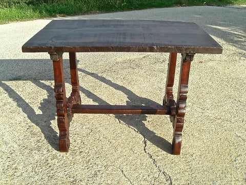Antique chestnut and walnut lyre leg writing table