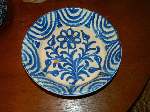 "#5742, Medium glazed blue and white ""Fajalauza"" majolica bowl with daisy"