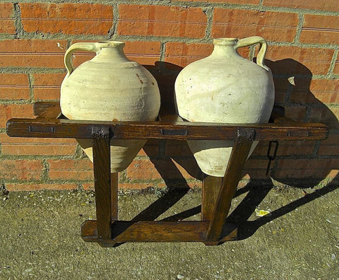 #5768, Portable water jug carrier with original clay jugs, pine