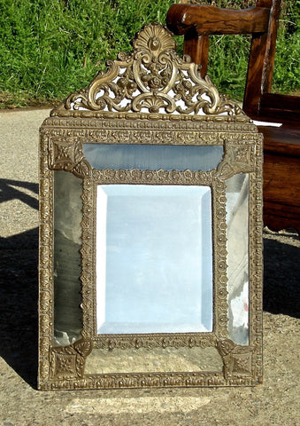 Antique repousse bronze Napoleon III mirror