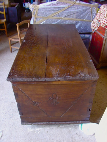#4848, French Basque dowry chest with fleur de lis carving