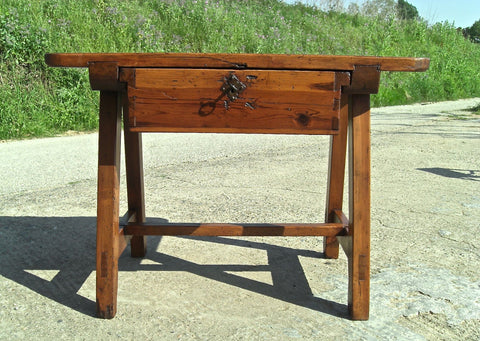 Antique trestle leg Pyrenees game dressing table with drawer, honey pine