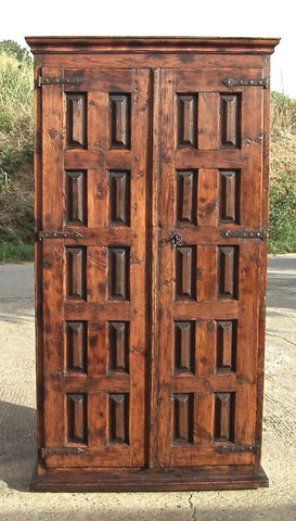 "Antique shallow ""Riojano"" pantry cabinet, pine with oak panels"