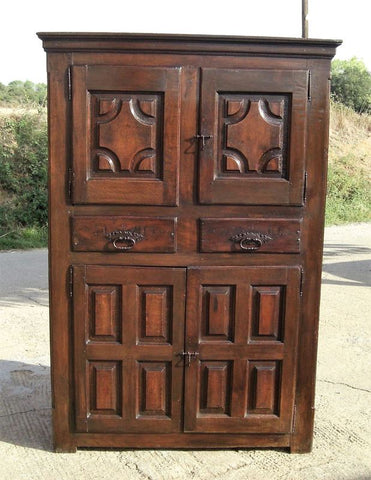 Antique two-door, single-drawer country Empire armoire, oak