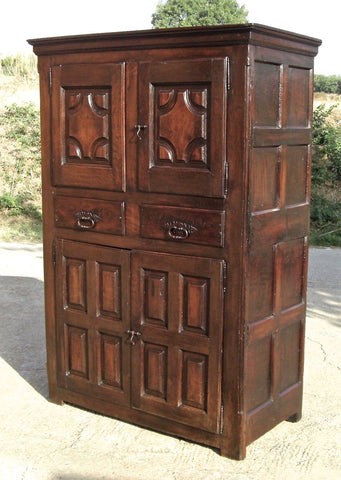 Antique four-door, two-drawer Basque cabinet, oak and chestnut