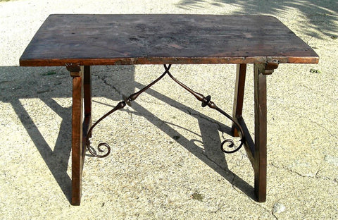 Antique lyre leg writing table with iron stretchers, walnut and pine