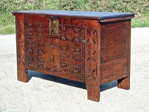 #5876, Carved Basque arms chest, chestnut and cherry