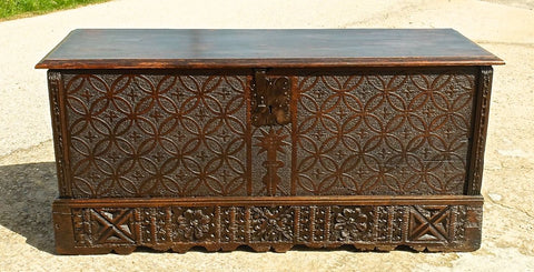 Antique carved Plateresque valuables / documents chest, cedar with oak legs and boxwood string inlay