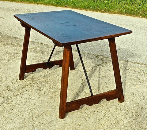 #5904, Trestle-leg campaign table with iron stretchers, walnut