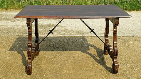 Antique lyre leg library table with iron stretchers, chestnut