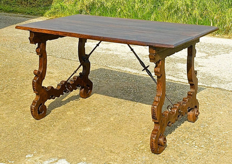 Antique scalloped lyre-leg library table with iron stretchers, walnut