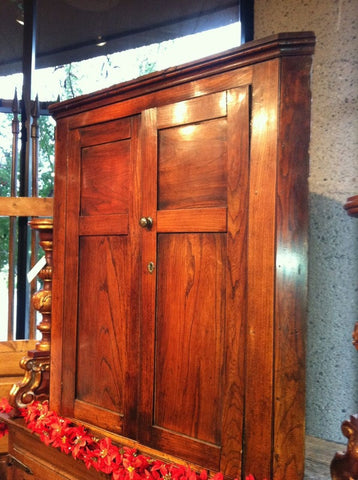 Antique corner cabinet, chestnut