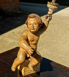 Spanish Antique cherub torchere