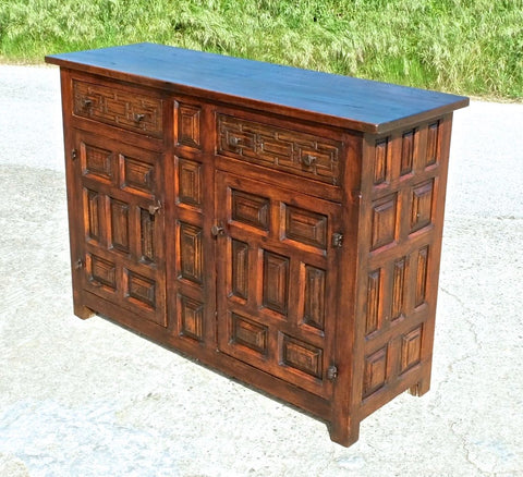 Antique two-door, two-drawer Castilian credenza, walnut