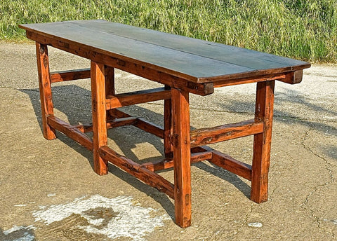 Antique Andorran work table, walnut and sabino