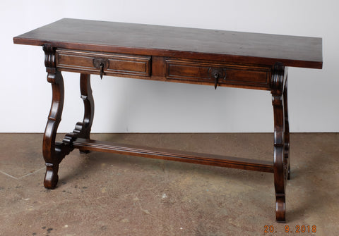 "Antique two-drawer lyre leg ""Isabelino"" console table, walnut"