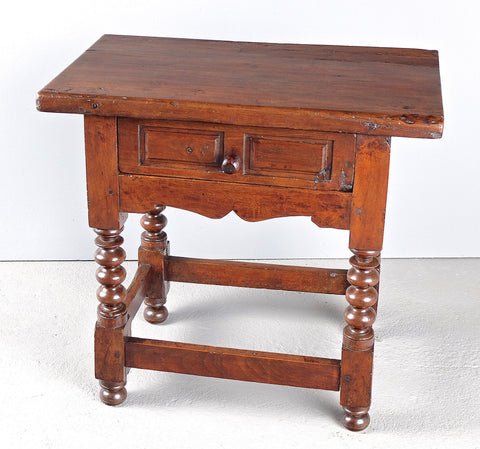 Antique lentil leg accent table with paneled drawer, walnut