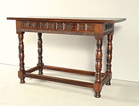 Antique carved turned-leg two-drawer console table, chestnut