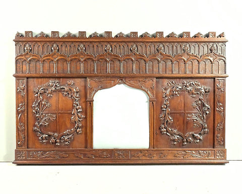 Antique heavily carved Henri II mirror, oak