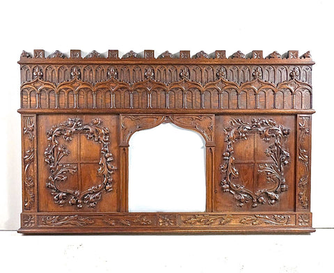 Antique carved Neo-Gothic panel with mirror, oak