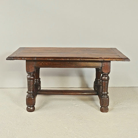 Antique low lyre leg accent table with iron stretchers, walnut