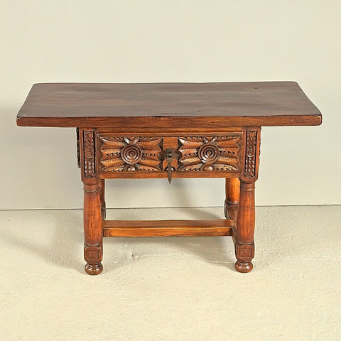 Antique turned-leg carved-drawer table, walnut and oak