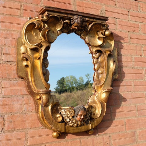 Antique carved and gilt Castilian Baroque mirror