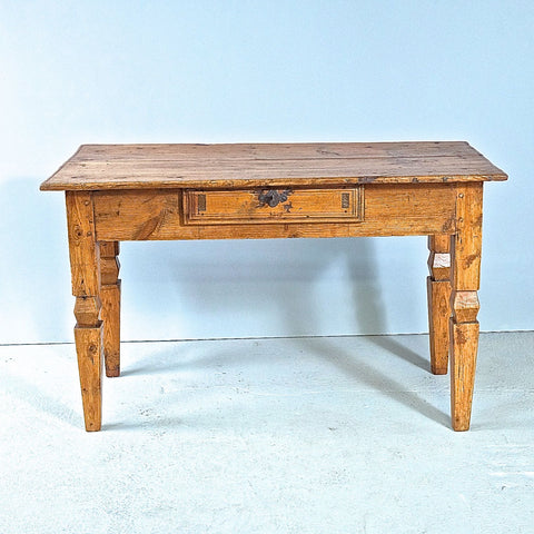 Antique tapered leg accent table with drawer, walnut