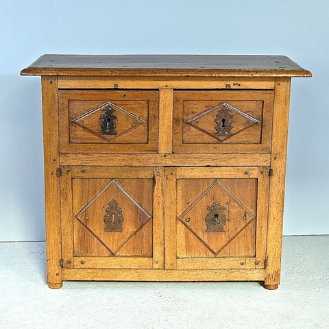 Antique two-drawer, two-door walnut credenza