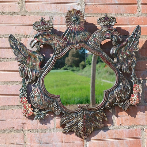 Antique painted repousse metal double-headed eagle mirror
