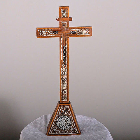 Antique inlaid colonial Portuguese cross