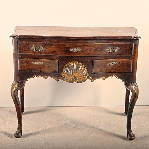 Antique turned leg console table with single-board top, chestnut